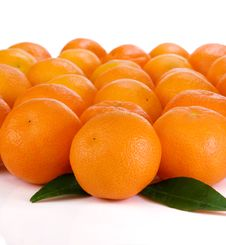 Oranges And Green Leaves Isolated On White Stock Image
