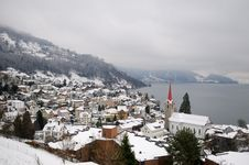 Winter View Of Small Town And Mountain Lake Royalty Free Stock Image