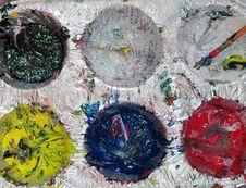 A Paint Palette Up Close Stock Photos