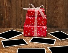 Christmas Gift Boxes And Old Empty Photos Stock Photo