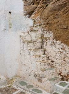Old Ruined Stone Staircase Of The Greek Islands Stock Image