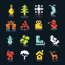 Free Multicolored  Winter And  Christmas Icons Royalty Free Stock Photos - 17221588