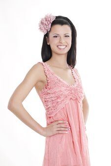 Free Young Woman In Pink Dress Royalty Free Stock Images - 17221679
