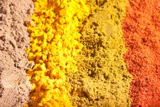 Free Four Raws Of Flavorful Bright Spices Royalty Free Stock Image - 17221706