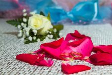 Free Two Rings On The Petals Of Roses Stock Images - 17222024