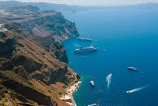 Free Harbor In Santorini With Cruise Ships Stock Photography - 17222332