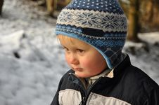 Free Boy Standing In Snowy Forest Royalty Free Stock Images - 17222339