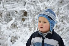 Free Boy Standing In Snowy Scenery Stock Photo - 17222390