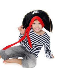 Portrait Of Young Boy Dressed As Pirate Stock Photography