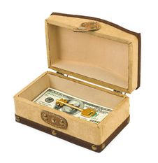 Money And Key In Box Stock Photos