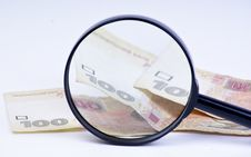 Free Magnifying Glass With Money Stock Image - 17223121