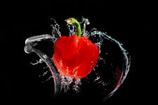 Free Red Pepper In Water Royalty Free Stock Photography - 17223557