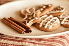 Plate Of Cookies And Cinnamon Stock Photo