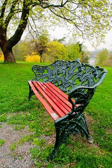 Bench With A Beautiful Cast-iron Back Stock Photos