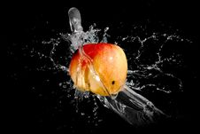 Free On Apple Splash Water Royalty Free Stock Image - 17223646