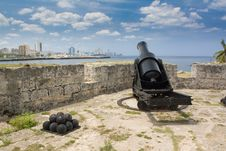 Defense Cannons In Old Colonial Havana City (II) Royalty Free Stock Images