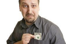 Unhappy Man With The Last Dollar Royalty Free Stock Image