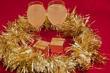 Free Christmas Decorated And Glasses Of Wine . Stock Photo - 17224820