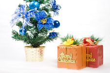 Two Gift Boxes With A Christmas Tree Stock Photos