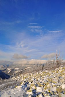 Winter Stone Hillside. Royalty Free Stock Photography