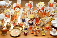 Hand-made Ceramic Christmas Decorations Royalty Free Stock Photos