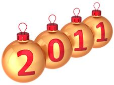 New Year 2011 Date Baubles (Hi-Res) Royalty Free Stock Photography