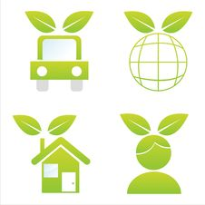 Free Set Of 4 Ecological Icons Stock Photos - 17228123