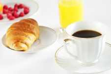 Free Breakfast. A Cup Of Coffee And Croissant Stock Photos - 17228503