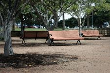 Free Three Park Bench Seats In Outdoors Park Royalty Free Stock Images - 17228749