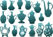 Blue Jugs Collection On White Royalty Free Stock Photo