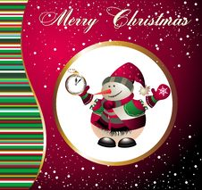 Free Christmas And New Year Card With Snowman Royalty Free Stock Image - 17229086