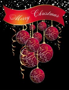 Free Christmas Background With Balls Royalty Free Stock Images - 17229249