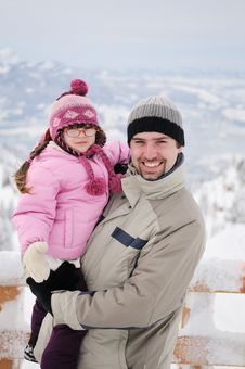 Free Young Father And His Daughter In Mountains Stock Photo - 17229620