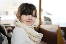 Free Small Girl In Winter Clothes In Old Style Train Royalty Free Stock Images - 17229629