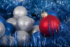 Christmas Colored Evening Balls Close-up Royalty Free Stock Image
