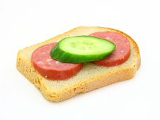 Free Sandwich With Sausage And A Cucumber Royalty Free Stock Photos - 17231298