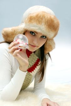 Free Young Caucasian Woman With Christmas Toy Stock Photography - 17231642
