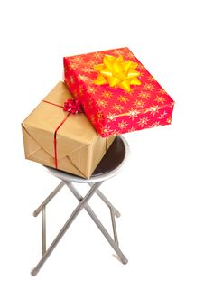 Christmas Gifts Boxes With Ribbons Isolated Stock Photography