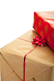 Christmas Gifts Boxes With Ribbons Isolated Stock Image