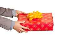 Free Woman Hand Holding Christmas Present Royalty Free Stock Photography - 17232767