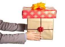 Free Woman Hand Holding Christmas Present Royalty Free Stock Image - 17232836