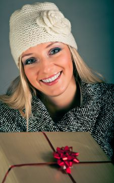 Free Portrait Of Blond Woman In Winter Clothes Royalty Free Stock Images - 17233289
