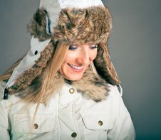 Portrait Of Blond Woman In Winter Clothes Royalty Free Stock Photos