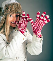 Portrait Of Blond Woman In Winter Clothes Royalty Free Stock Photo