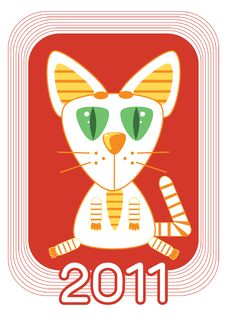 Free Cat .New Year Symbol For Text Royalty Free Stock Photography - 17233617