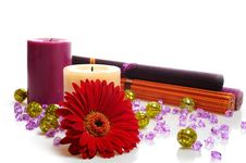 Free Beautiful Spa Background With 2 Candles And Flower Stock Images - 17233734