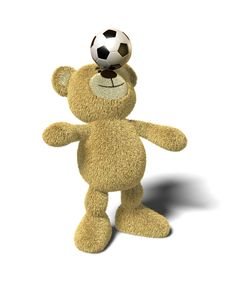 Free Nhi Bear Balances Soccer Ball On Nose, Front Stock Photos - 17235153