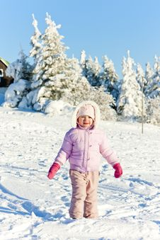 Free Little Girl In Winter Mountains Stock Photo - 17236330