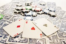 Free Aces And Poker Chips Royalty Free Stock Photography - 17236817