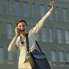 Telephoning Businesswoman Stock Photo